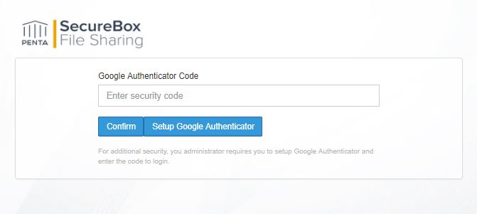 secure box  google authenticator setup