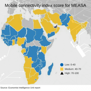 Mobile connectivity index score for MEASA region.